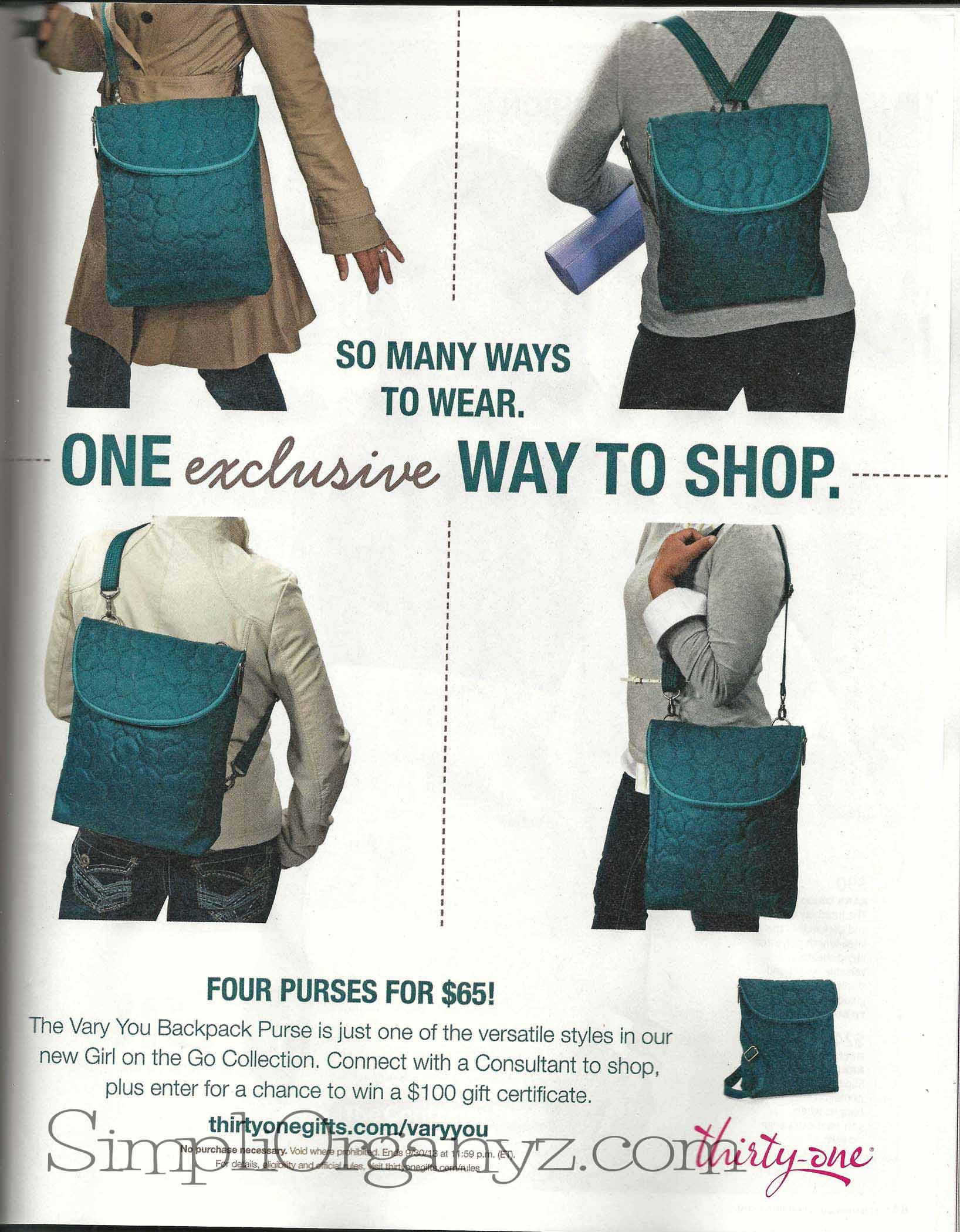 Vary You Backpack Purse | SimpliOrganyz